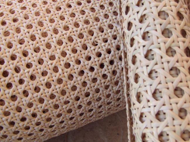 Machine woven cane panel, matting or loom